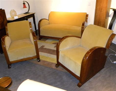 wood settee furniture original restored french art deco sofa suite settee with