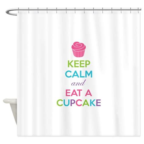 cupcake shower curtain keep calm and eat a cupcake shower curtain by designalicious