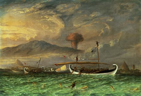 painting for java volcano and fishing proas near passoeroean on the java