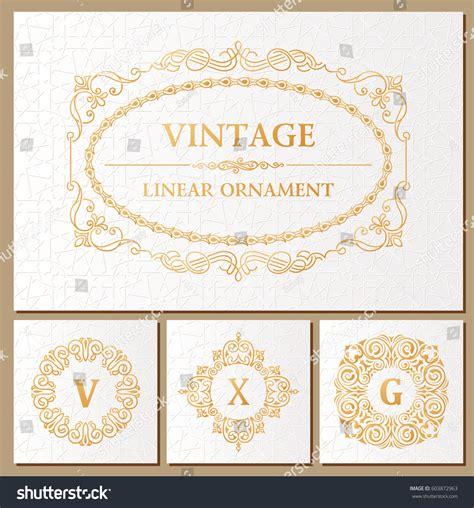 birthday card vintage template vintage retro frame monogram template greeting stock