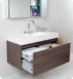 mezzo gray oak 39 quot modern single bathroom vanity by fresca