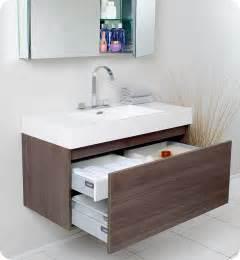 modern bathroom sink cabinet mezzo gray oak 39 quot modern single bathroom vanity by fresca