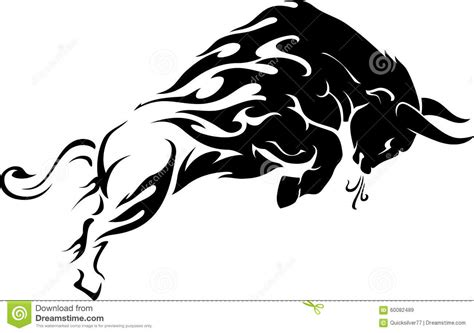 bull flame trail tattoo stock image image of filled