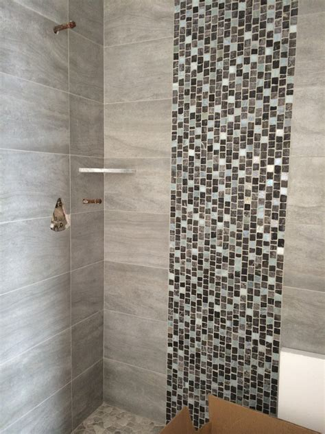 bathroom ideas pebble tile 12 x 12 turquoise 12 x 24 porcelain shower walls w stone and glass tile
