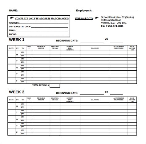 bi weekly time card template biweekly timesheet template word