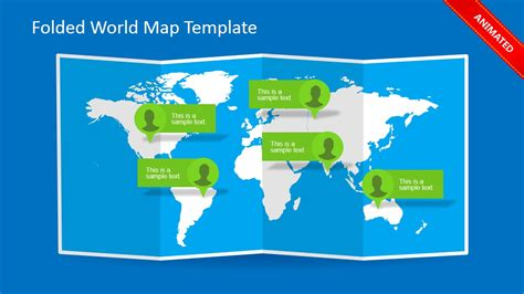 Folded World Map Powerpoint Template Slidemodel Powerpoint Map Template