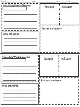 Vocabulary Words Worksheet Template by Vocabulary Strategies Graphic Organizer By Thinking In