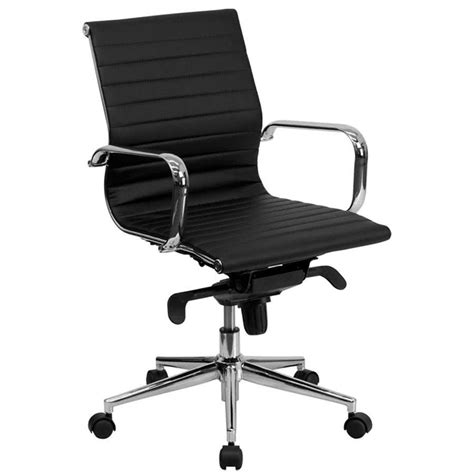 ribbed office chair mid back black ribbed leather executive swivel office