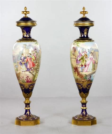 Urn Planters For Sale by Antique Pair Of 19th Century Sevres Urns With Covers For Sale