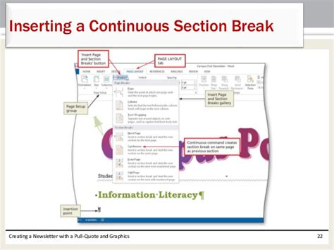 microsoft word continuous section break word ch07
