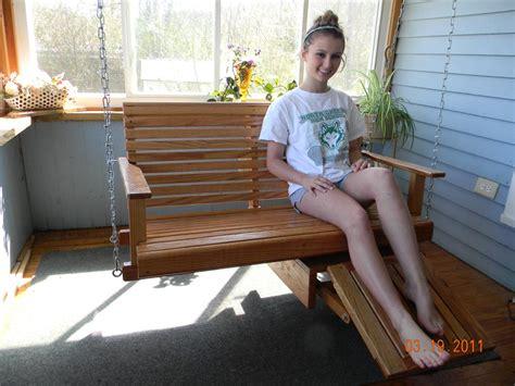 Patio Swing With Footrest Flip Footrest Oak Porch Swings Mrocks Creative Woodworking