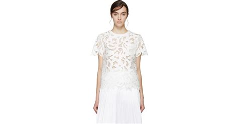 White Lili Blouse sacai white lace pleated blouse in white lyst