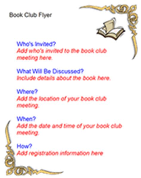 book club agenda template free book club flyer templates