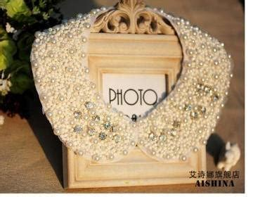 Backpack Australis 5218 fashion white rhinestone beaded pan collar necklace