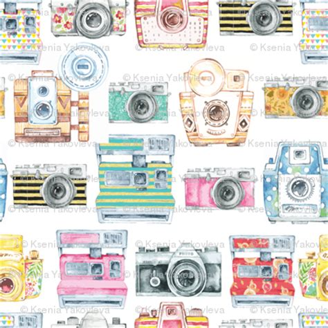 camera wallpaper pattern watercolor cameras large scale fabric gypseeart