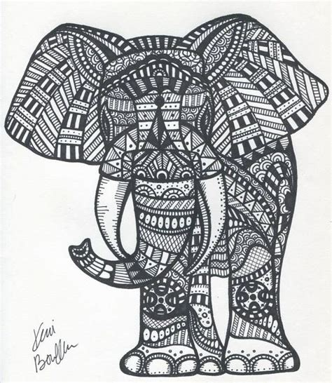 aztec elephant coloring page tribal elephant by sharpieimage on etsy 10 00 paul