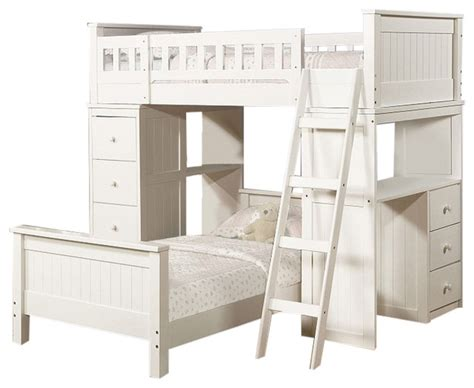 White Twin Size Loft Bunk Bed Chest Desk All In 1 And All In One Bunk Bed With Desk