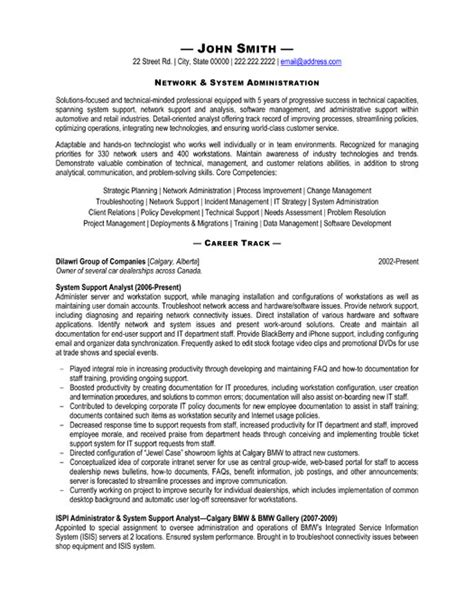 it help desk resume summary system support analyst resume sle template