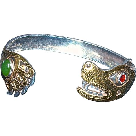 LARRY P. TARANOFF  , 'Bear Father' Hand Hammered Carved Bracelet 18K from lynnstrauss on Ruby Lane