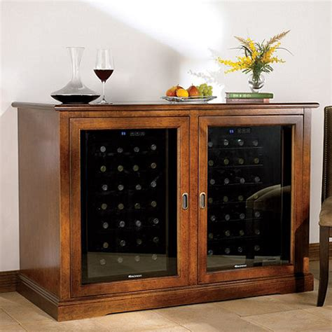 refrigerated wine cabinet furniture siena mezzo wine credenza walnut with two wine