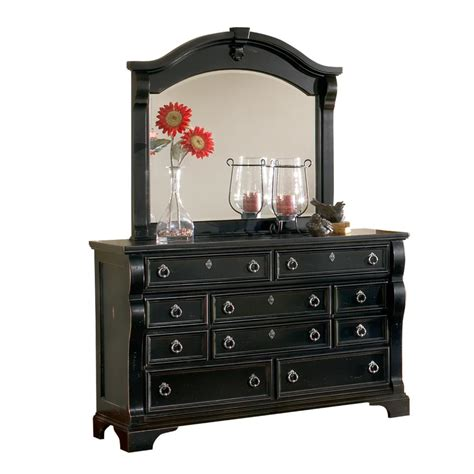 black dresser with mirror drawers american woodcrafters heirloom 10 drawer distressed black