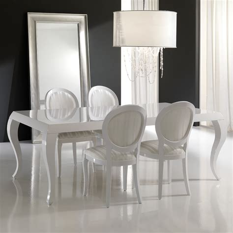 lacquered dining tables high gloss white lacquered dining table and chairs set