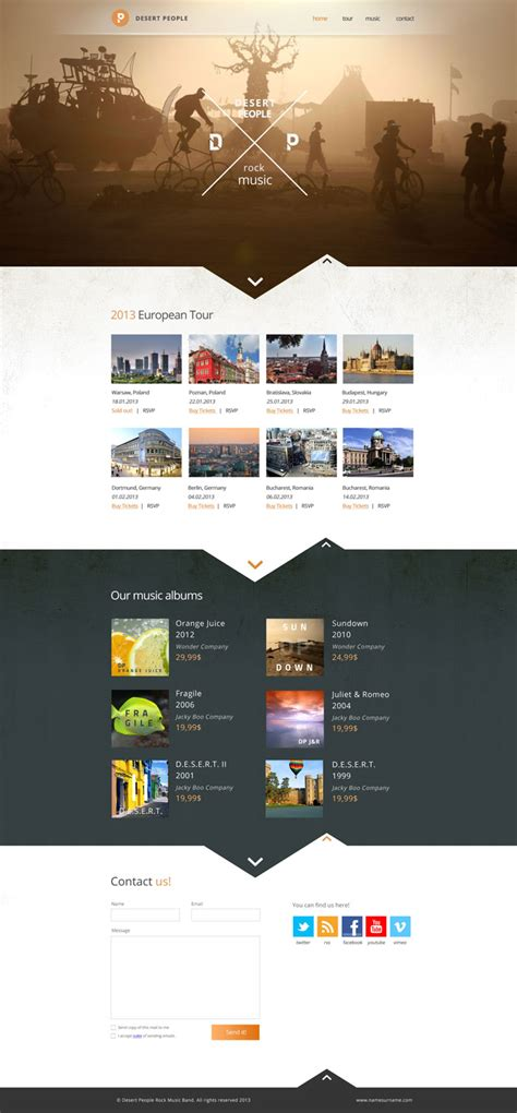 pinterest layout design inspiration desert people band website layout design inspiration