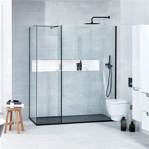 aquaglass l shaped matte black profile walk in shower