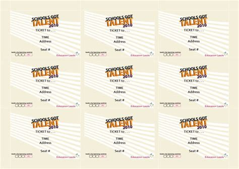 show ticket template schools got talent tom davey portfolio
