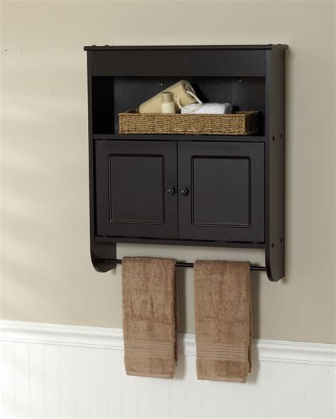 small wood wall mounted bathroom storage cabinet with door