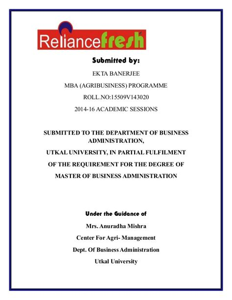 Uf Mba Ta Session by Reliance Sip