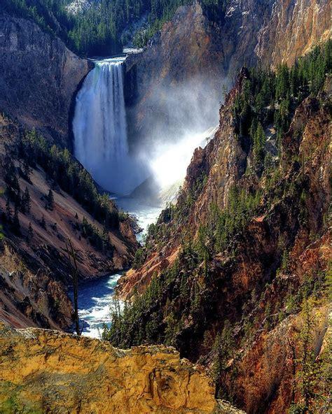 yellowstone lower falls waterfall in yellowstone lower yellowstone falls print by alan w cole