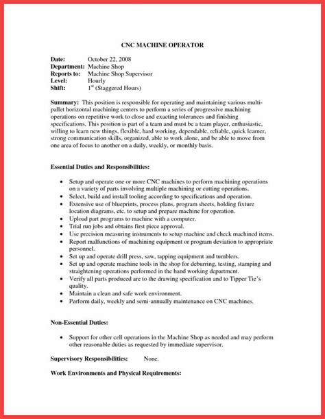 sle resume for machine operator position switchboard operator resume memo exle