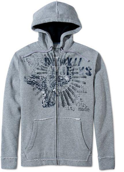 Hoodie Zipper Dkny dkny graphic fleece zip up hoodie in gray for lyst