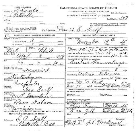 Shasta County Marriage Records Ira Scalf Of Scalf