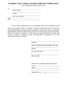 florida 7 day notice to quit form non compliance