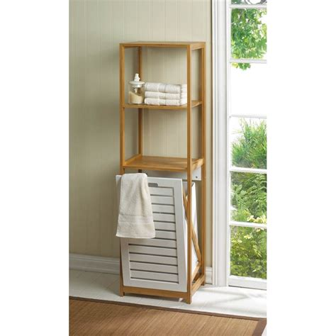 bathroom bamboo storage home locomotion bamboo shelf with built in clothes her bathroom storage ebay