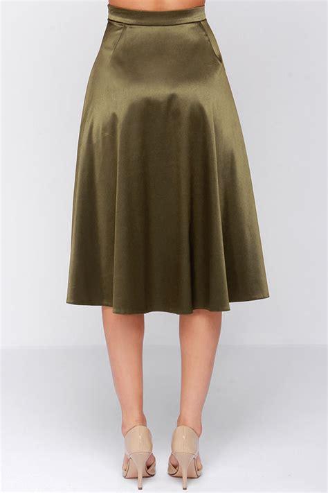 chic olive green skirt midi skirt a line skirt 49 00