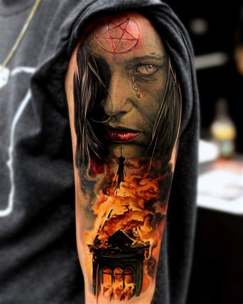 satanic burning church best tattoo design ideas