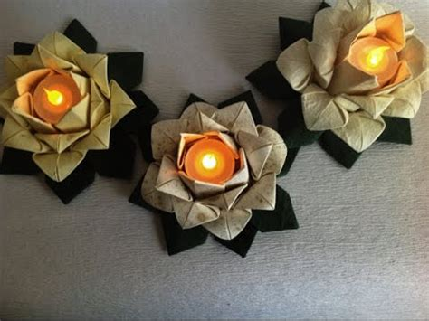 Origami Table Decorations - origami lotus candle table decoration 20 petal origami