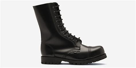 stalen boot commando 10 eyelet steel cap boot black leather single