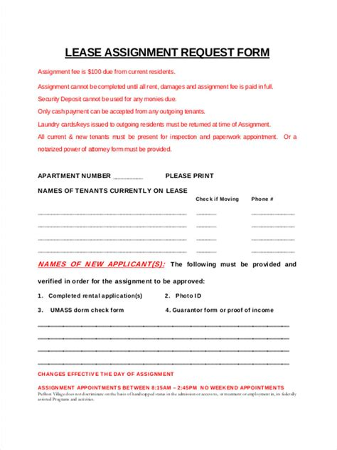 Lease Assignment Request Letter 34 lease forms in pdf