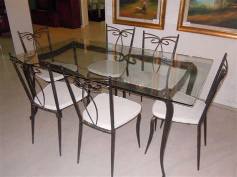 tavoli in ferro battuto e vetro set tavolo n 6 sedie ferro battuto e vetro sottocosto