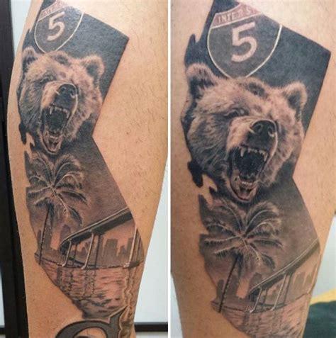 california state tattoos california state mens and bridge leg on