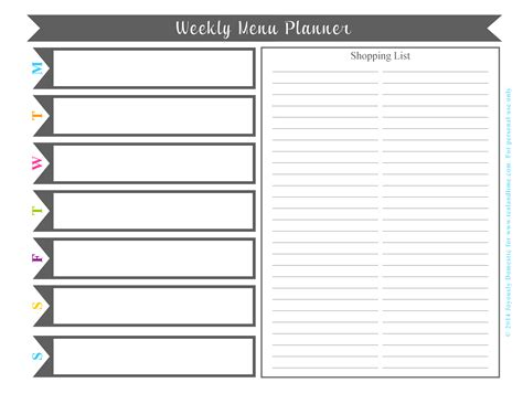printable menu planner template 6 best images of printable monthly planner templates