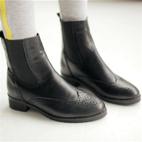 slip on motorcycle boots autumn toe flat slip on ankle black pu