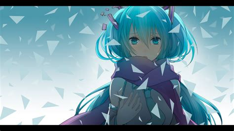 wallpaper anime girl cry aqua hair close crying hatsune miku scarf tears vocaloid