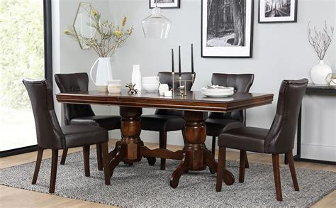 dining room table and 6 chairs chatsworth dark wood extending dining table and 6 chairs