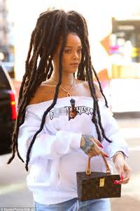 Monogrammed Gold Necklace Rihanna Rocks New Dreadlocks And Off The Shoulder Sweater In New York Daily Mail Online