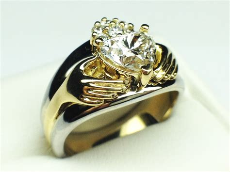 engagement ring claddagh two tone